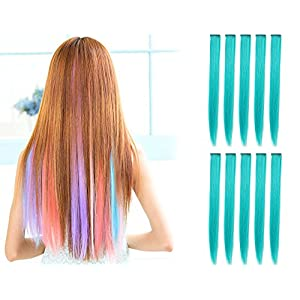 OneDor 23 Inch Straight Colored Party Highlight Clip on in Hair Extensions Multiple Colors (10 Pcs Teal Blue)