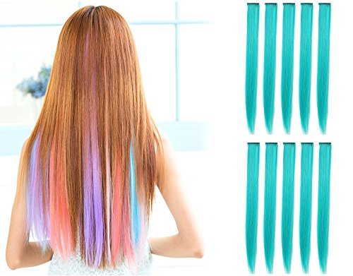 Teal Blue Color (OneDor 23 Inch Colored Party Highlights Straight Hair Clip Extensions. Heat-Resistant Synthetic Hair Extensions in Multiple Colors (10 Pcs Teal)