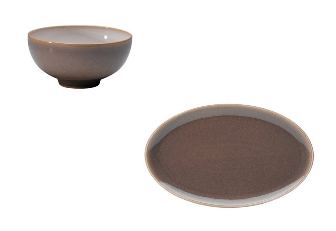 Denby Truffle Rice Bowl and Oval Platter, Set of 2