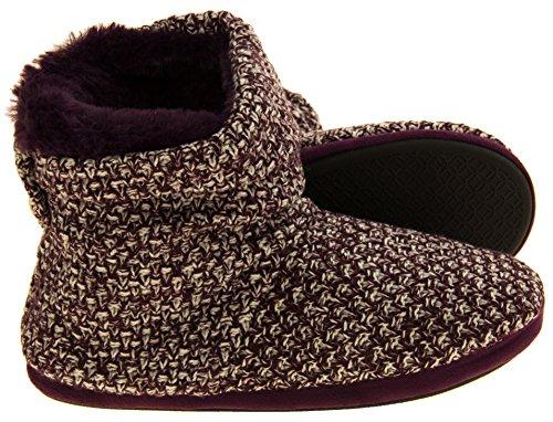 51mONoE5gLL - Coolers Womens Plum Warm Knitted Winter Fur Lined Slipper Boots 9-10 B(M) US