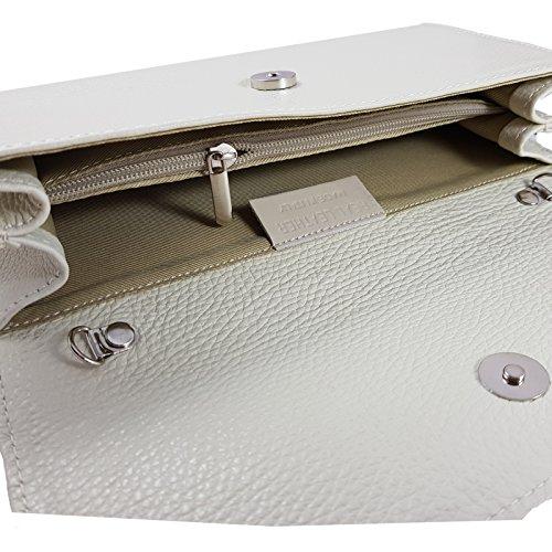Freyday Echtleder Damen Clutch Tasche Abendtasche Muster Metallic 25x15cm Creme