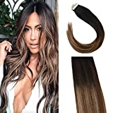 fading Sunny 20inch Brown Tape in Human Hair Extensions Ombre #1B Fading to #4 Dark Brown Mixed #18 Ash Blonde Remy Tape in Extensions 20pc 50Gram Per Pack