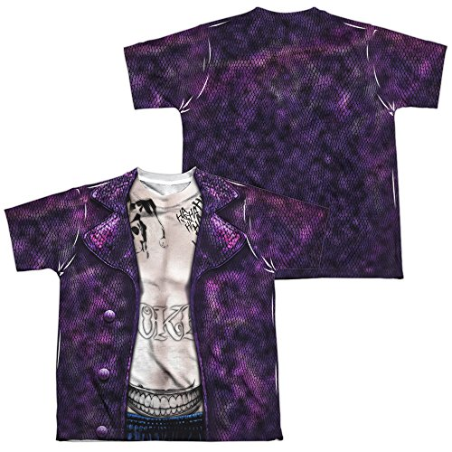 [Front/Back Youth - Suicide Squad - Joker Costume All Over Print T-Shirt] (Childrens Joker Costume)