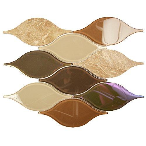 Chandelier Emperador - Unique Brown Teardrop Glass and Stone Mosaic Tile – Backsplash Tile for Kitchen/Bathroom/Fireplace Surround (4 x 6 Inch Sample) (Unique Stone Tile)