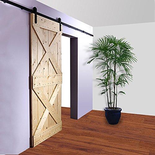 Single Door Rail - WinSoon 5/6/8/10/12/13/15/16FT Black Straight Design Sliding Roller Barn Single Wood Door Hardware Closet Track Kit Set (6FT Single Door Kit)