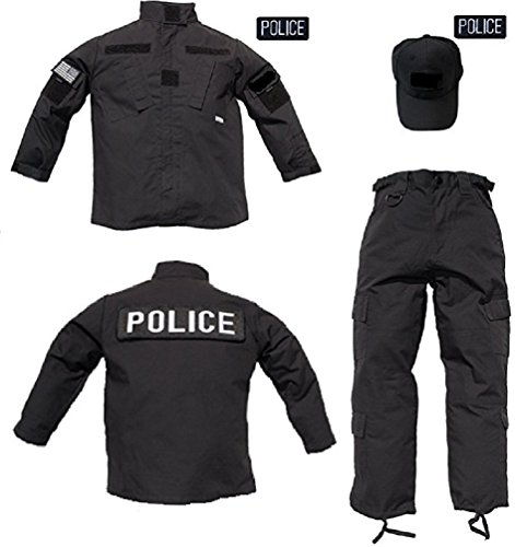 Pc Police Costume (Kids 3 pc Trooper Black Tactical Police Uniform (S))