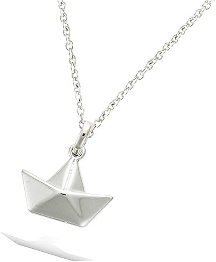 TATA GISELE /© Pendentif en Argent 925//000 Rhodi/é Sachet Cadeau Velours Offert Bateau style Origami Pliage