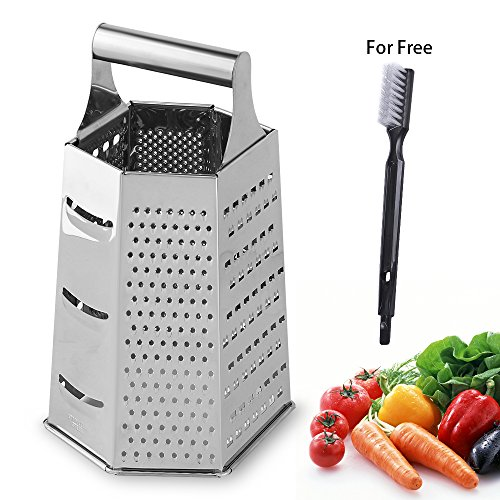 NEX Vegetable Slicer Stainless Steel 6 Side Cutting Tool for Kitchen Hand-Held Cheese Grater with Cleaning Brush for Free