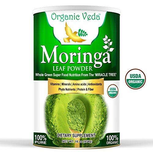 Organic Moringa Leaf Powder (16Oz -1Lb). USDA Certified Organic. Raw Green Super Food, Energy Boost, Multivitamin, Healthy Nutrition and Metabolism. Non GMO and Gluten Free. In a Food Grade Container.