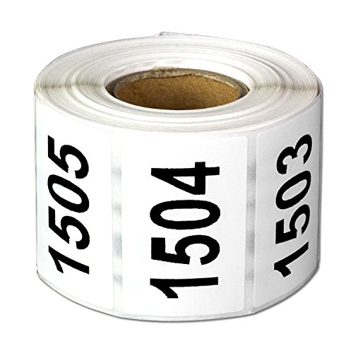 Consecutive Number Labels Self Adhesive Stickers1501 to 2000 (White Black / 1.5 x 1 Inch) - 500 Labels Per Pack