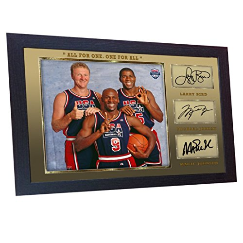 S&E DESING Michael Jordan Larry Bird Magic Johnson Signed Autograph NBA USA Olympic Framed MDF - Magic Johnson Olympics