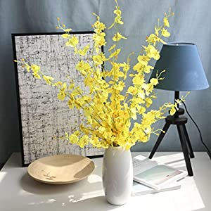 Artificial Flowers,Vibola® Artificial Orchid Fake Flowers Arrangement PU Phalaenopsis for Home Table Decor (not Include Vase) (Yellow) 56