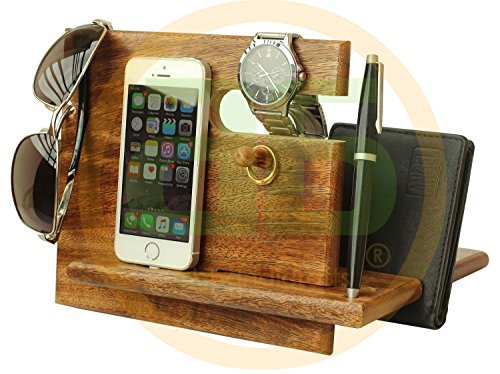 FATHER'S DAY GIFTS - AB Handicrafts Universal Wooden Docking Station, Christmas Gifts For Men, Gifts For Dad, iPhone, Android Docking Station, Gifts For Husband, 7th Anniversary Gifts For Him