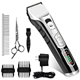 Casifor Dog Grooming Clippers Kit, Professional Pet Cordless Low Noise Rechargeable Grooming Clippers Comb Guides Scissors Dogs Cats Animals (2200mAh)