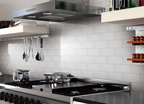 Art3d 32 piece peel and stick backsplash tiles brushed for Stainless steel subway tile backsplash peel and stick
