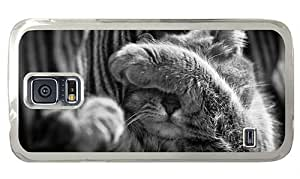 Hipster Samsung S5 awesome case cat greyscale PC Transparent for Samsung S5