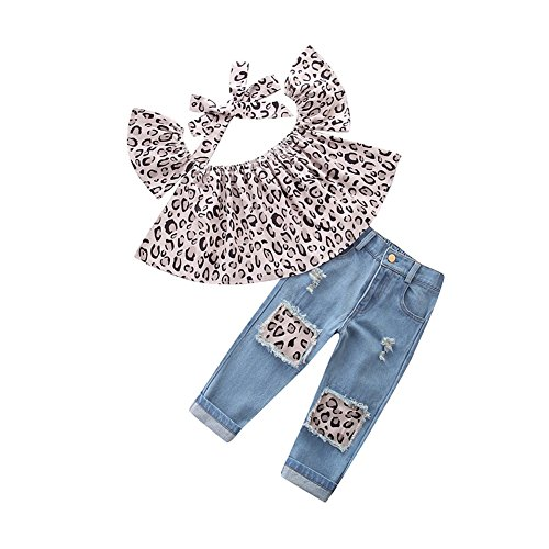 Infant Girls Leopard (KIDSA 1-7T Toddler Baby Little Girls Leopard Short Sleeve Off Shoulder Tops + Ripped Jeans Pants Outfits Set with Headband)