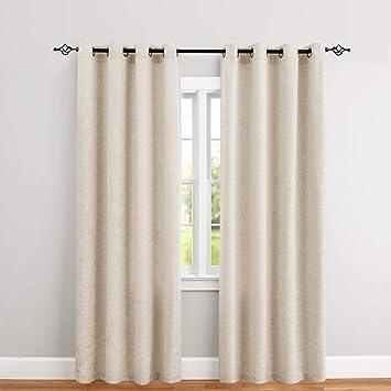 jinchan Burlap Linen Window Curtains for Bedroom Window Panels 1 Pair  Rustic Decor Drapes 52\