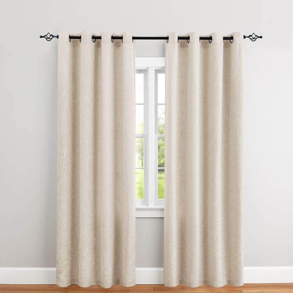 Burlap Linen Textured Window Curtains for Bedroom 95 inches Long Flax Room Darkening Living Room Window Panels 1 Pair Rustic Decor Drapes Ivory