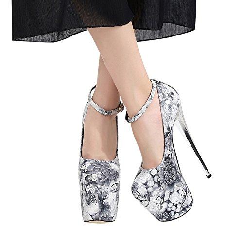 hauts mariage à orteil chaussures mode de plateforme 19cm talons fermée super Pompe 1048 féminine silver fereshte No zwq70
