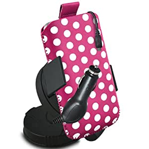 ONX3 ZTE Blade Q Maxi Leather Slip cable protector Polka PU Pull In Pouch con el caso de Quick Release, 360 que gira la horquilla del parabrisas del coche y 12v Micro USB cargador de coche (Hot Pink & White)
