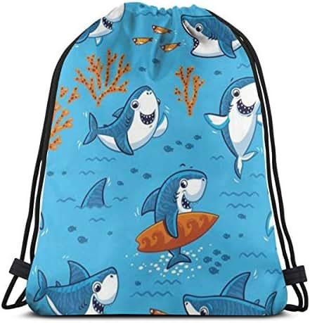 Drawstring Backpack Bag, Cinch Sack, Sport Gym Bag For Women Or Men, Cartoon Shark Pattern