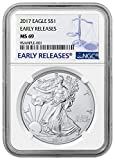 #10: 2017 - American Silver Eagle Early Release Blue Label Dollar MS69 NGC