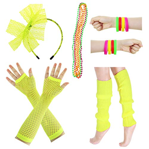 JINSEY Women's 80s Outfit accessories Leg Warmers Gloves For 1980s Theme Party Supplies-Yellow]()