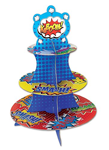 3 Tiered Super Hero Comic Graphic Cardboard Cupcake Stand Dessert Tower
