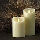"""Saint Mossi Dia3.5"""" x 5"""" LED Flameless Scented Real Paraffin Wax Subtle Vanilla Scent Pillar Candle with remote control and auto timer control"""