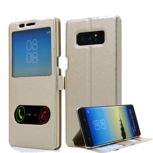 Galaxy Note 8 Case, AICase [ Window View ] PU Leather Magnetic Closure Flip View Case Folio Stand Cover for Samsung Galaxy Note 8 (Gold)