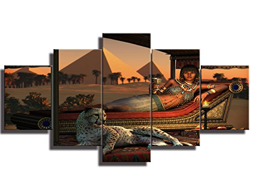 Modern Printed Painting on Canvas Wall Art An Ancient Egyptian Lady and a Tame Cheetah Artwork Picture for Living Room Giclee Home Decor Gallery-wrapped Wooden Framed Ready to Hang(50''Wx24''H)]()