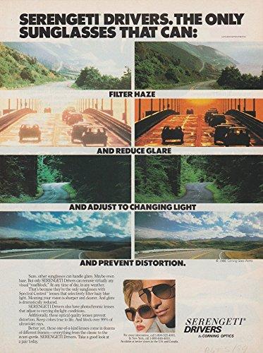 *PRINT AD* 1989 SERENGETI DRIVERS SUNGLASSES by CORNING OPTICS