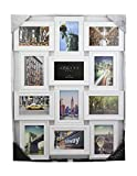 Azzure Home 12 Openings Decorative Wall Hanging Collage Picture Frame - Made to Display Six 6x4 and Six 4x6 Photos, White