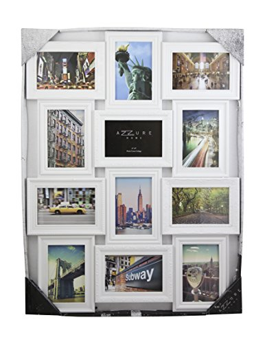 Azzure Home 12 Openings Decorative Wall Hanging Collage Picture Frame - Made to Display Six 5x7 and Six 4x6 Photos, White (Picture Frames Collage 5x7)