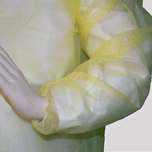 Polypropylene Isolation Gown 20 GSM Yellow with Elastic Band Cuff Carton of 100