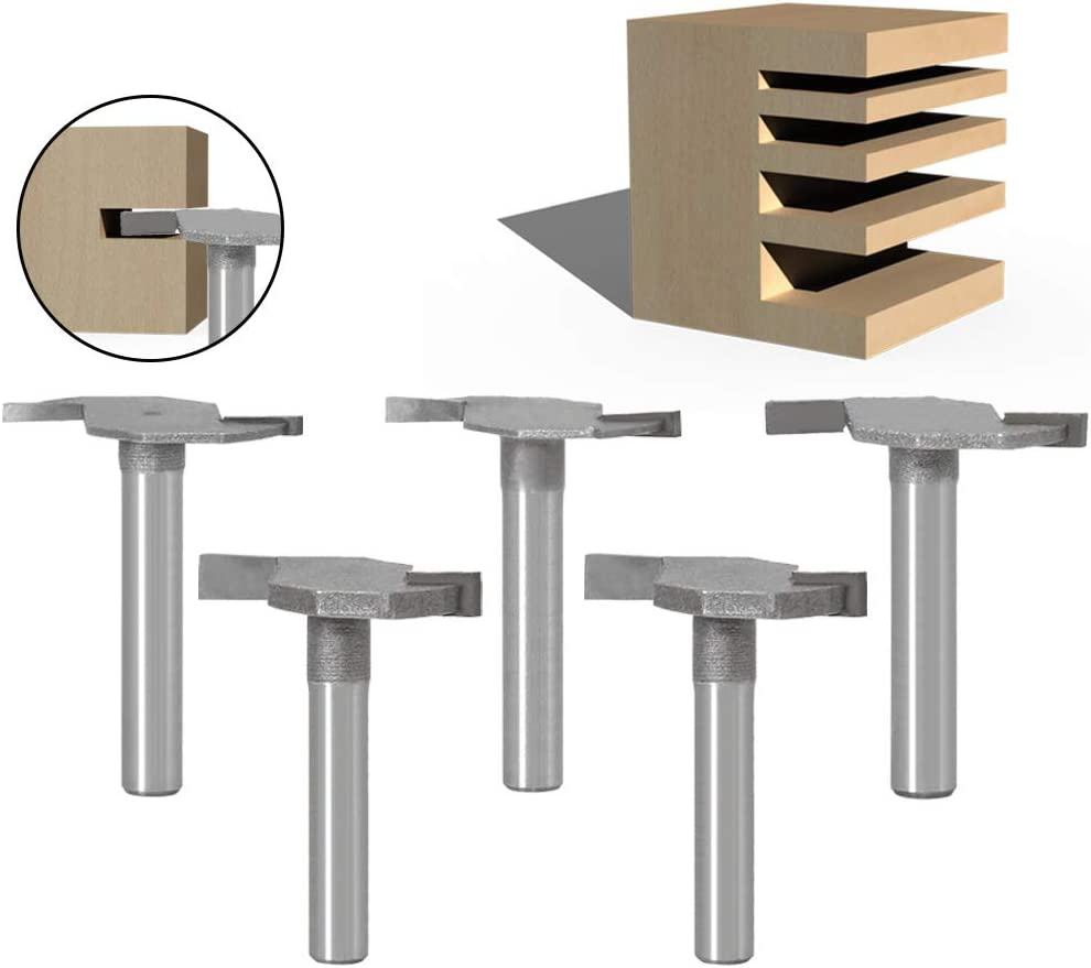 6mm Shank Router Bit Set Double Flute Woodworking T-Slot Slotting Router Bit Cutting Tools 5 pack