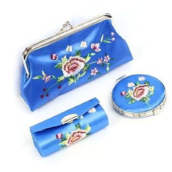 Amazon.com: 3 en 1 Monedero Bordado Floral Espejo del lápiz ...