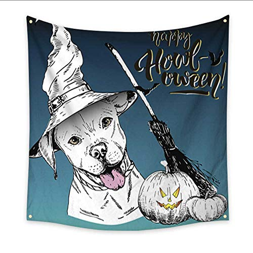 Anniutwo Tapestry for Men Vector Greeting Card for Halloween Dog Wearing The Witch hat Home Decorations 32W x 32L Inch -