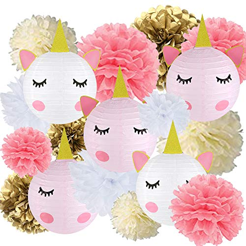 (18 pcs Unicorn Birthday Party Decorations - 12pcs Tissue Paper Pom Poms,6pcs Unicorn Paper Lanterns with Glitter Horn Ears Eyelashes for Unicorn Baby Shower Birthday Party)