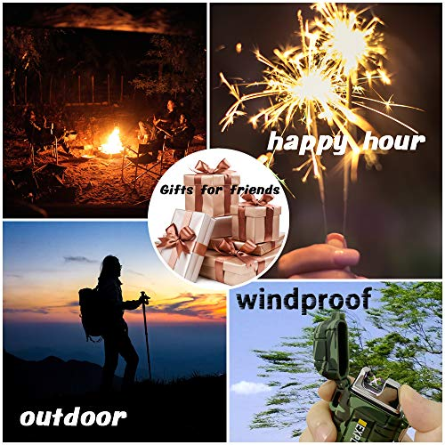 Electric Lighter Rechargeable USB, USB Lighter with Dual Arc, Waterproof Electric Lighter, Flameless Windproof Rechargeable Lighter for Camping Hiking Outdoor Adventure