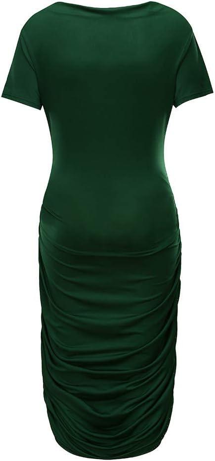 Yliquor Women Summer Fashion Maternity Dress Short Sleeve Solid Color Pregnancy Sundress Casual Dress