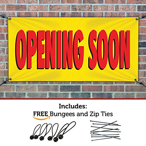 HALF PRICE BANNERS - Opening Soon Banner - Indoor/Outdoor - 4'x8' Yellow - Made in The USA (Banner Outdoor Opening)