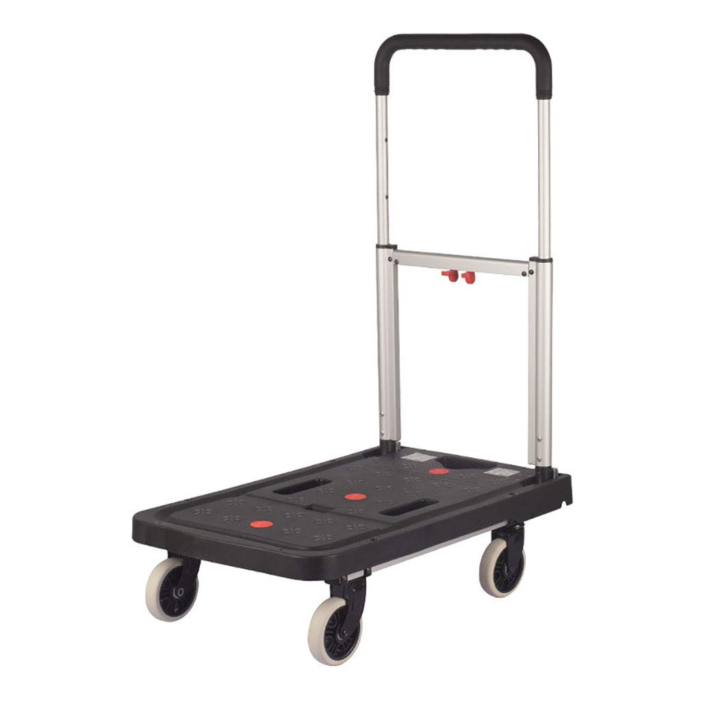 LBY Trolley Trolley Luggage Trailer Aluminum Folding Trolley Flatbed Household Four Wheels Pulling Shopping Trolley (Color : Black, Size : Bicycle)