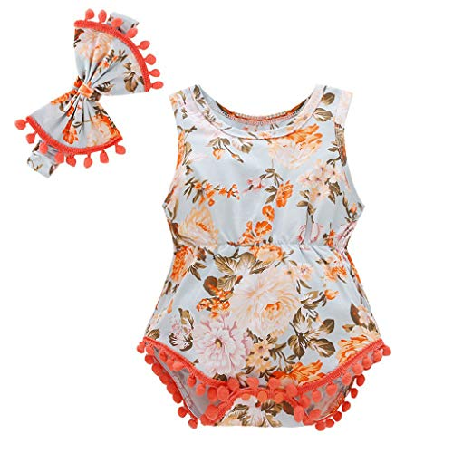 (Tronet Newborn Onesies Toddler Kid Baby Girls Floral Romper Bodysuit Outfit Headband Clothes Summer (0-3 Months, Orange - A))