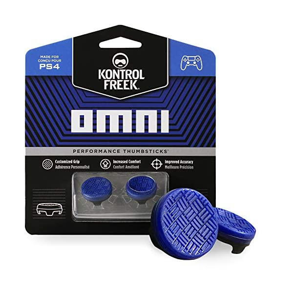 KontrolFreek Omni for PlayStation 4 (PS4) and PlayStation 5 (PS5) | Performance Thumbsticks | 2 Low-Rise Concave | Blue 1