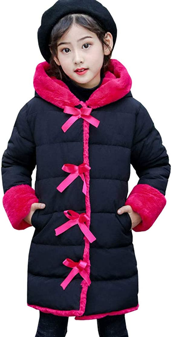 LPATTERN Kids Girls Winter Puffer Coat Warm Padded Jacket Printed School Parka Thickened Cotton Coat Casual Quilted Coat Snow Jacket with Faux Fur Hood