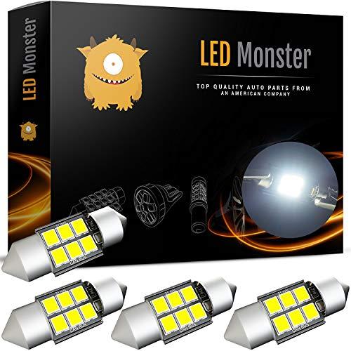 LED Monster 4-Pack 6 SMD 31mm LED Bulb CANBUS 3030 Festoon White Color Chipset Error-Free Festoon Lights Map Dome Door Light for DE3175 DE6428 (4) ()
