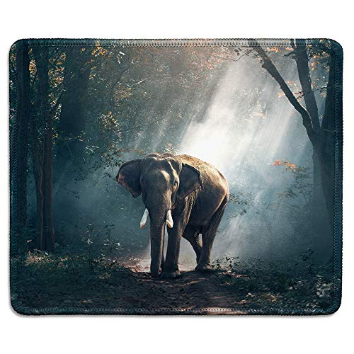 (dealzEpic - Wild Animal Art Mousepad - Natural Rubber Mouse Pad Printed with Elephant in The Forest - Stitched Edges - 9.5x7.9)