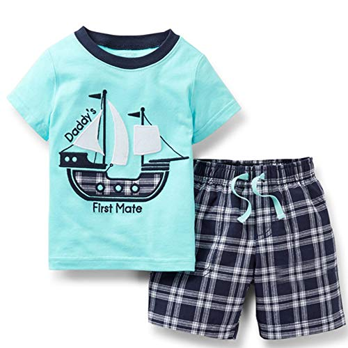Toddler Boy Cotton Blue Sailboat Short Sleeve Tee and Shorts Clothes Outfit Set 5t]()